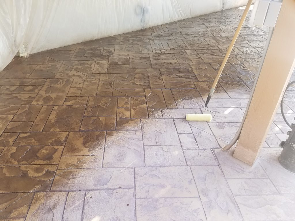 the difference between stamped concrete when sealer is applied