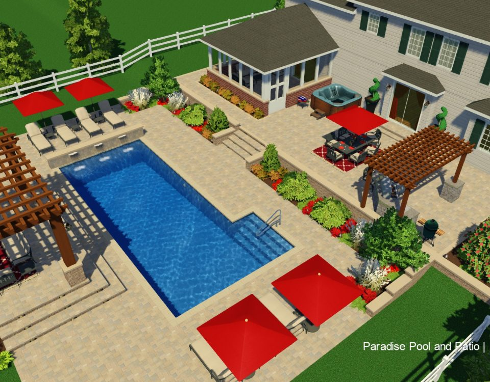Over the top 3d visual of in ground swimming pool